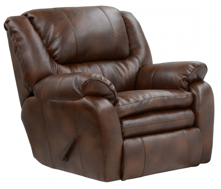 Russell Bonded Leather Lay Flat Recliner - Tobacco - Catnapper