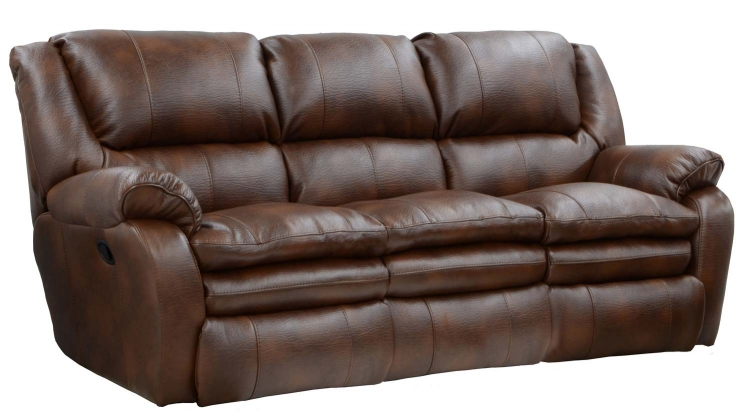 Russell Bonded Leather Lay Flat Reclining Sofa - Tobacco - Catnapper