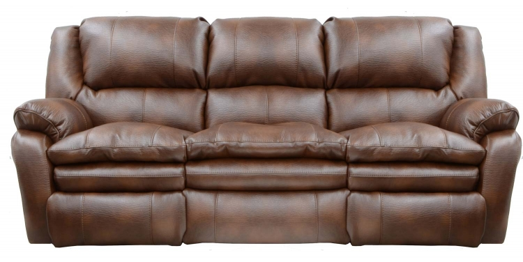Russell Bonded Leather Power Lay Flat Reclining Sofa - Tobacco - Catnapper