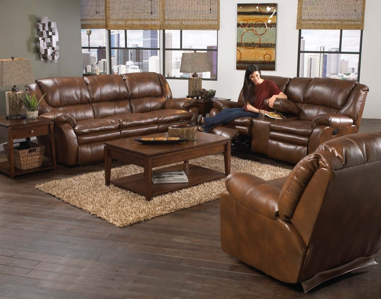 Russell Bonded Leather Power Lay Flat Reclining Sofa Set - Tobacco - Catnapper