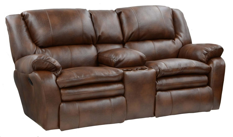 Russell Bonded Leather Lay Flat Reclining Console Loveseat with Storage and Cupholders - Tobacco - Catnapper