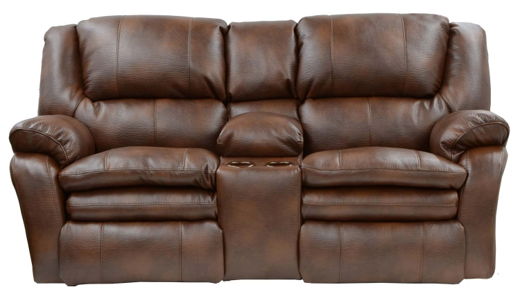 Russell Bonded Leather Power Lay Flat Reclining Console Loveseat with Storage and Cupholders - Tobacco - Catnapper