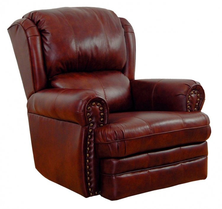 Buckingham Top Grain Leather-Touch Rocker Recliner - Chestnut