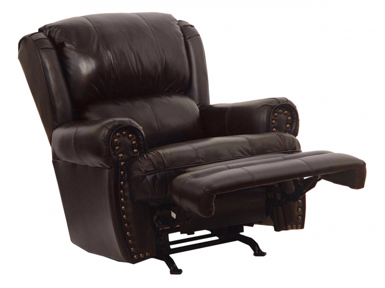 Buckingham Top Grain Leather-Touch Rocker Recliner - Chocolate