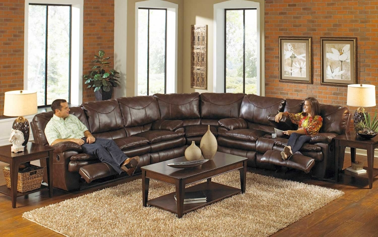 Perez Reclining Sectional Sofa Set - Chestnut