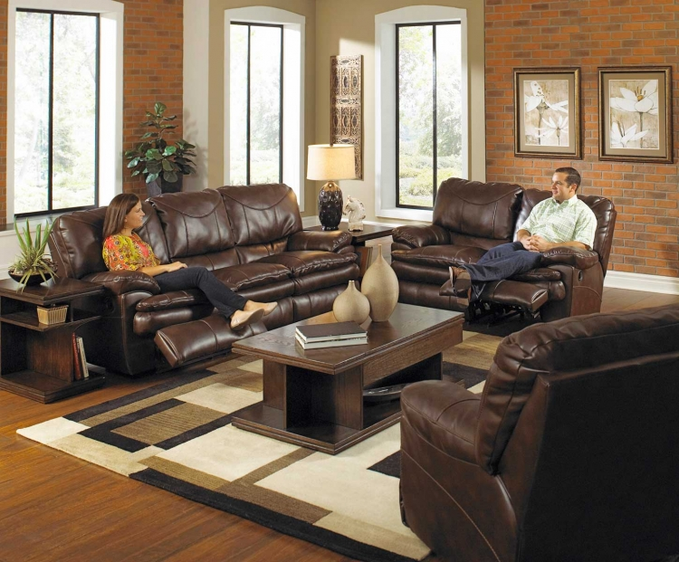 Perez Power Reclining Sofa Set - Chestnut