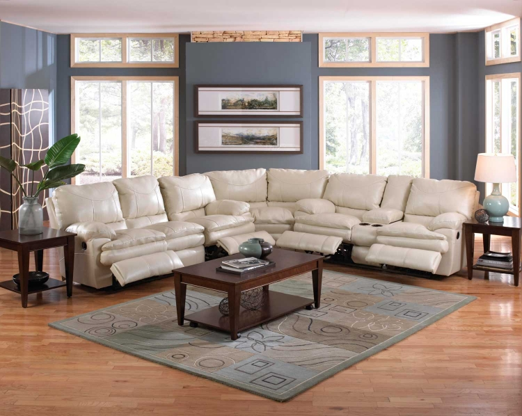 Perez Reclining Sectional Sofa Set - Ice