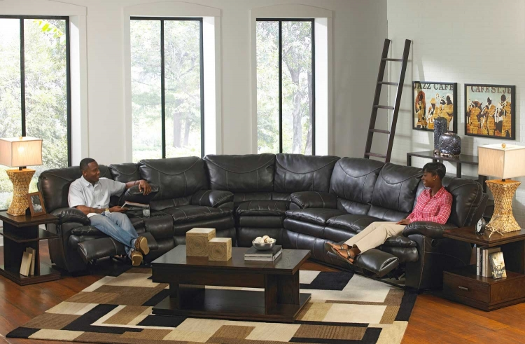 Perez Power Reclining Sectional Sofa Set - Steel