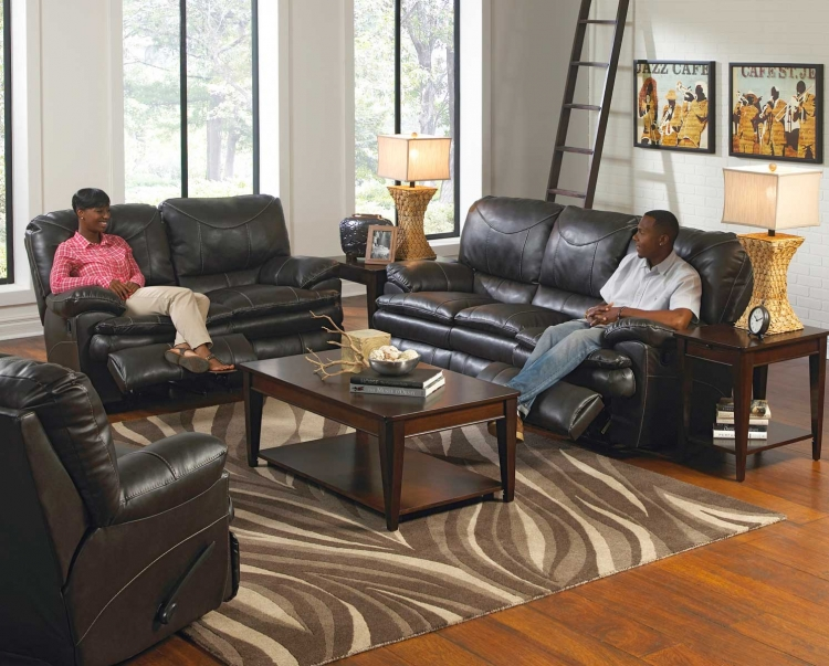 Perez Reclining Sofa Set - Steel
