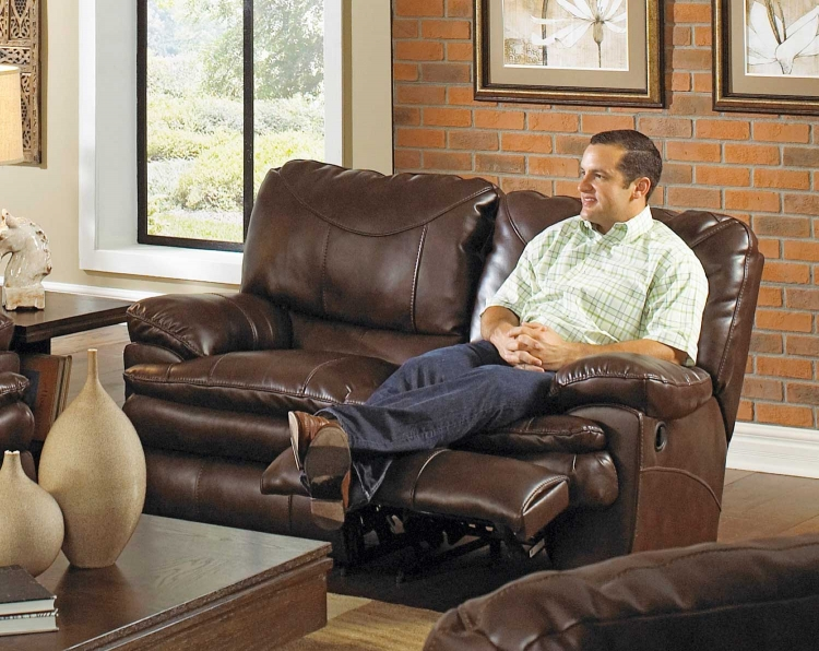 Perez Reclining Loveseat - Chestnut