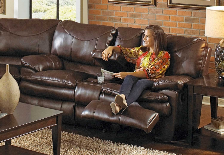 Perez Reclining Console Loveseat with Storage and Cupholders - Chestnut