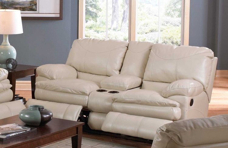Perez Reclining Console Loveseat with Storage and Cupholders - Ice