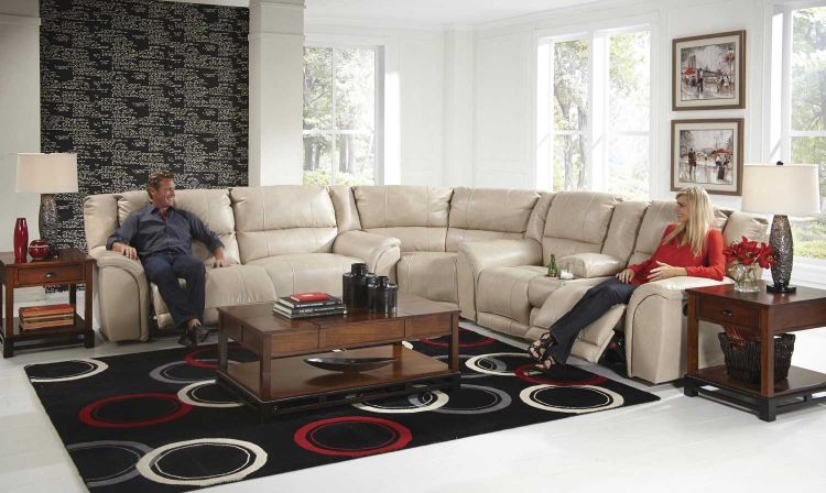 Carmine Power Lay Flat Reclining Sectional Sofa Set - Pebble