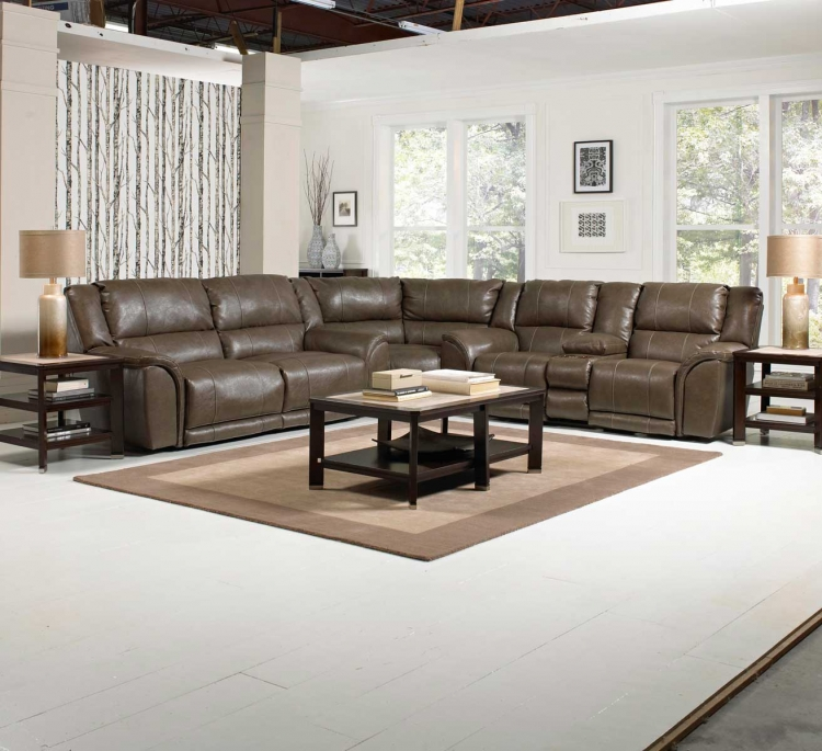 Carmine Power Lay Flat Reclining Sectional Sofa Set - Smoke