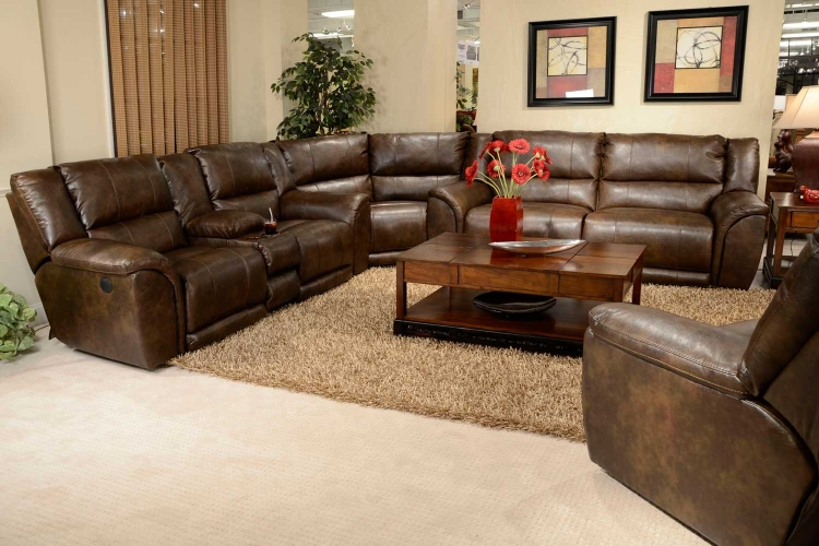 Carmine Power Lay Flat Reclining Sofa Set - Timber