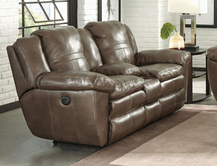 Aria Top Grain Italian Leather Lay Flat Power Reclining Console Loveseat - Smoke