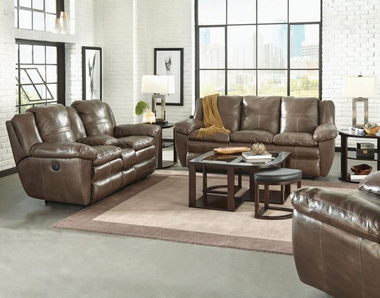 Aria Top Grain Italian Leather Lay Flat Power Reclining Sofa Set - Smoke