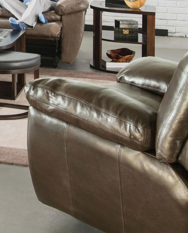 Aria Top Grain Italian Leather Lay Flat Recliner - Smoke