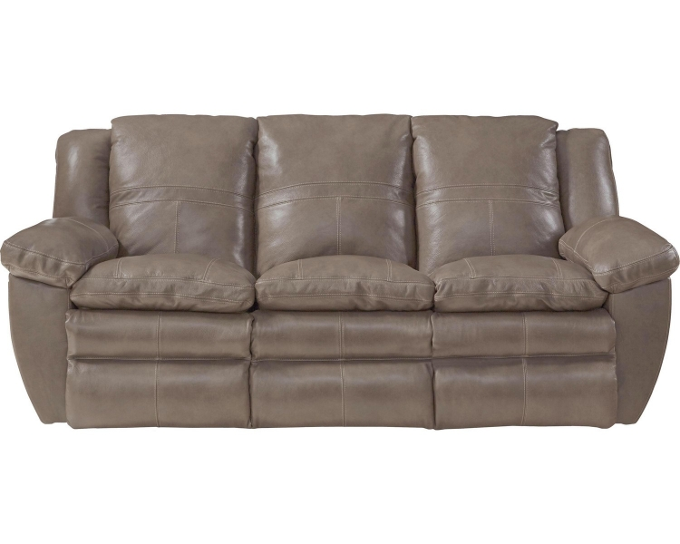 Aria Top Grain Italian Leather Lay Flat Reclining Sofa - Chocolate