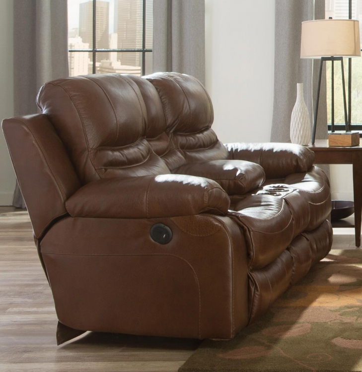 Patton Top Grain Italian Leather Lay Flat Power Reclining Console Loveseat - Chestnut