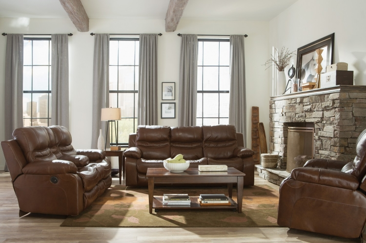 Patton Top Grain Italian Leather Lay Flat Reclining Sofa Set - Chestnut