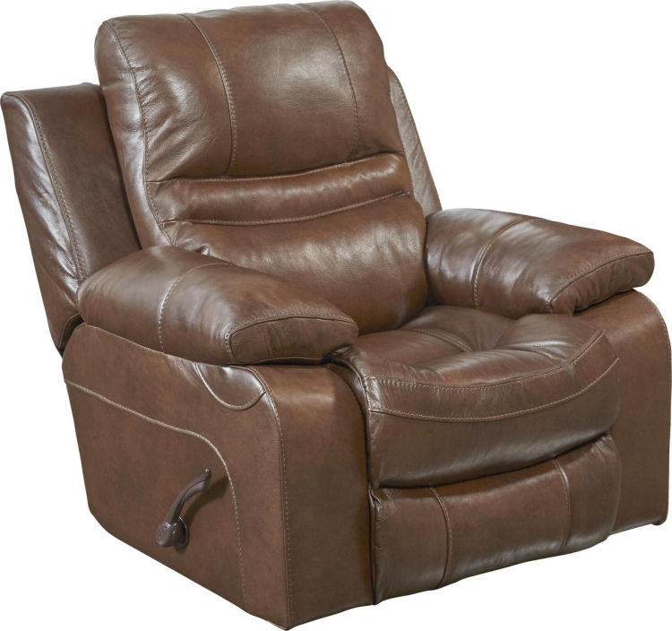 Patton Top Grain Italian Leather Glider Recliner - Chestnut
