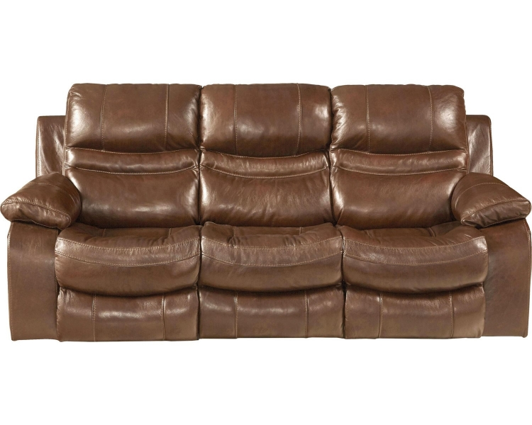 Patton Top Grain Italian Leather Lay Flat Power Reclining Sofa - Chestnut