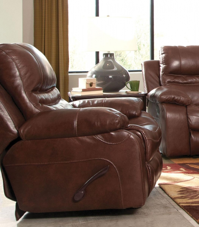 Patton Top Grain Italian Leather Glider Recliner - Walnut