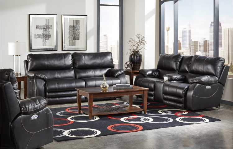 Sheridan Power Headrest Power Lay Flat Reclining Sofa Set - Black