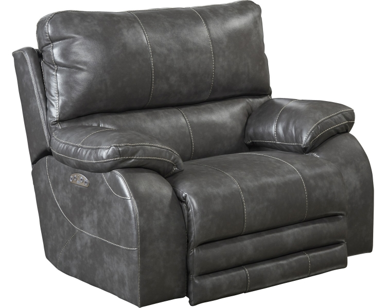 Sheridan Power Headrest Power Lay Flat Recliner - Steel