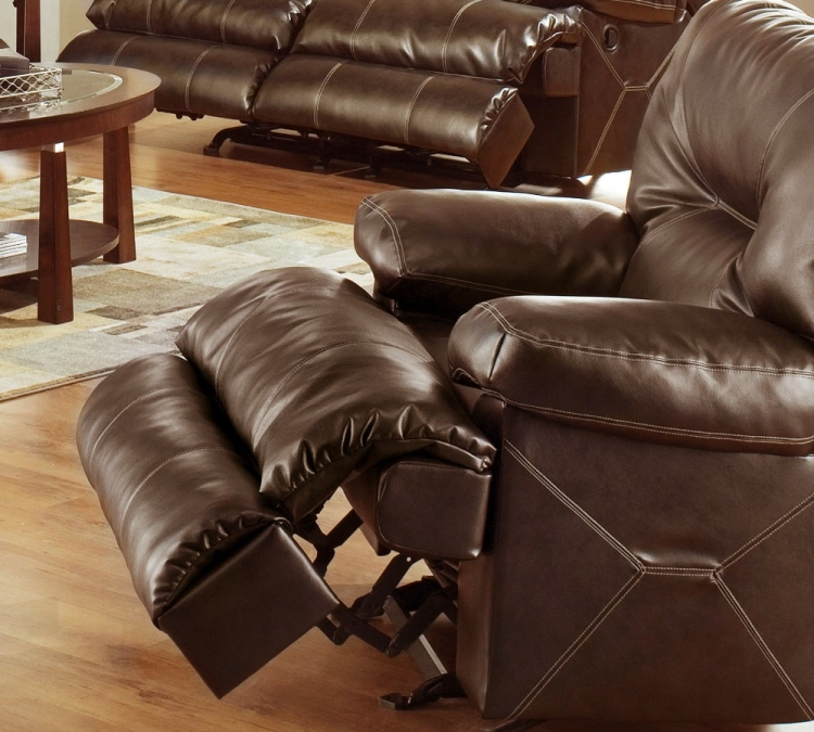 Cortez Bonded Leather Chaise Glider Recliner - Brown - Catnapper