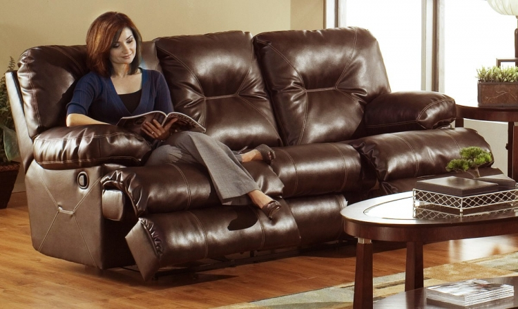 Cortez Bonded Leather Dual Reclining Sofa - Brown