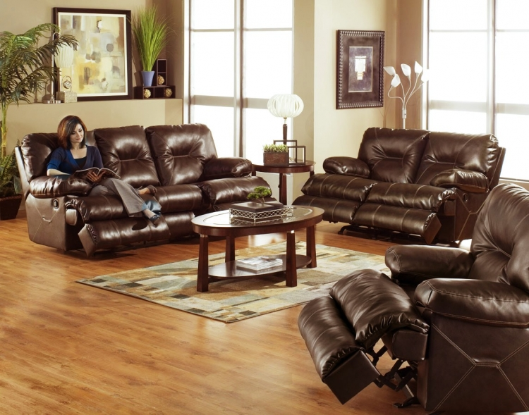 Cortez Bonded Leather Sofa Set - Brown - Catnapper