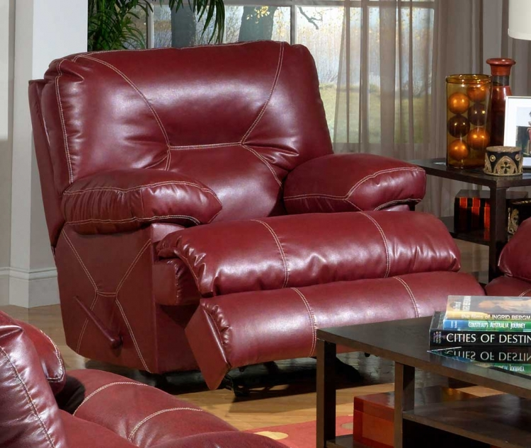 Cortez Bonded Leather Power Chaise Glider Recliner - Red