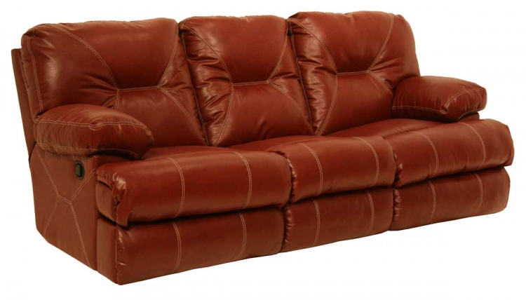 Cortez Bonded Leather Dual Reclining Sofa - Red - Catnapper