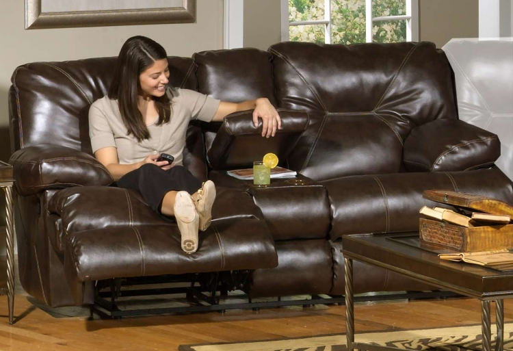 Cortez Bonded Leather Power Reclining Console Loveseat with Cupholders and Storage - Brown - Catnapper