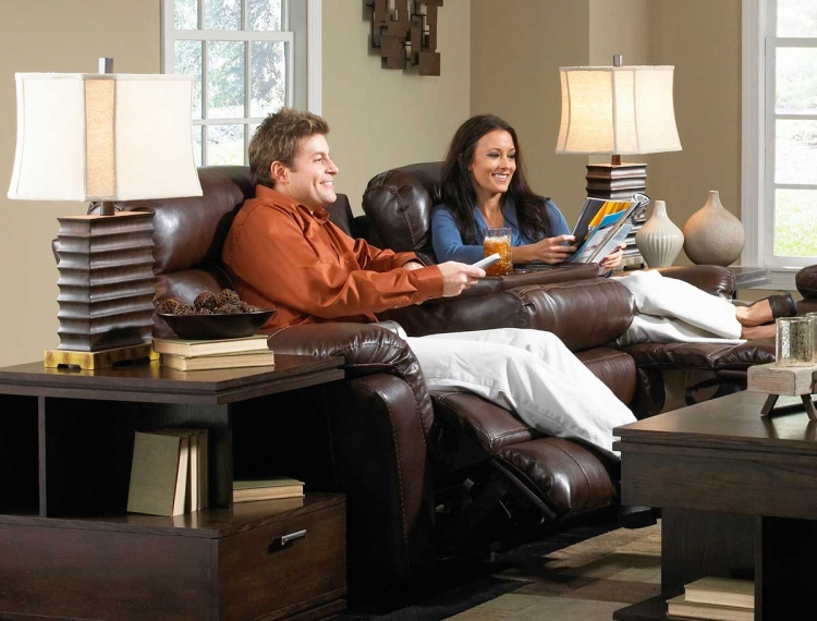 Variables Bonded Leather Ultimate Sofa with 3 Recliners and 1 Drop Down Table Hershey - Catnapper