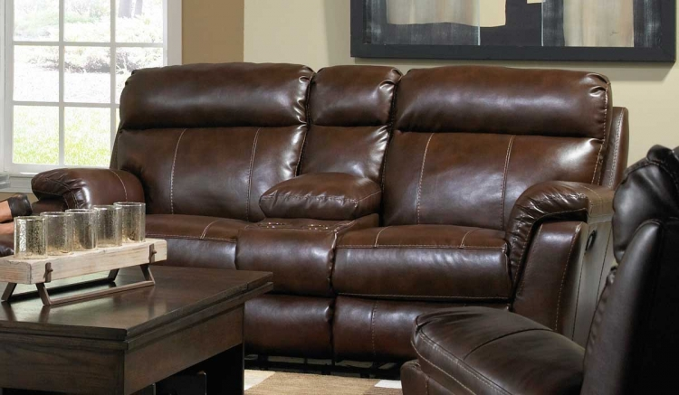 Variables Bonded Leather Reclining Console Loveseat with Storage and Cupholders - Hershey - Catnapper