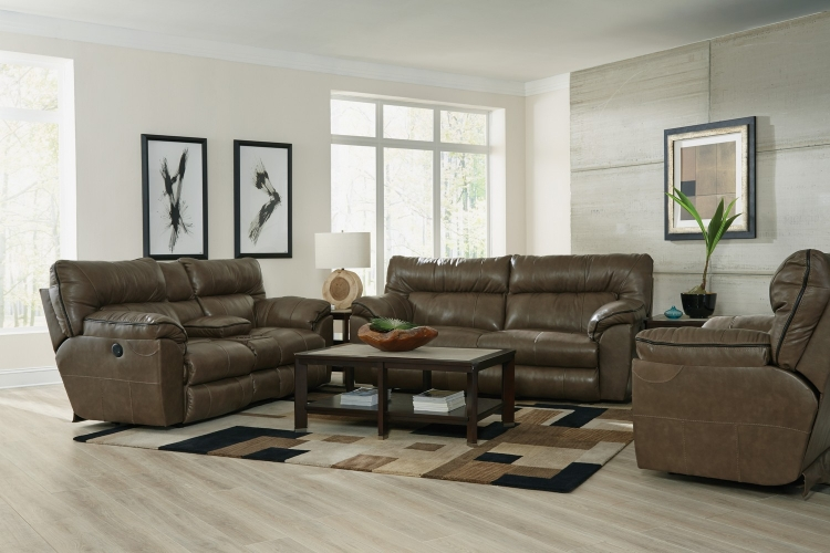Milan Power Lay Flat Reclining Sofa Set - Smoke