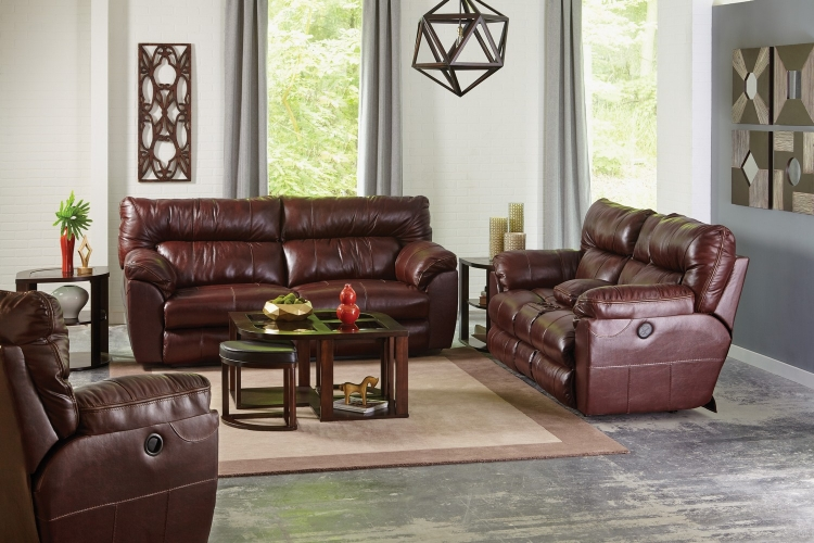Milan Power Lay Flat Reclining Sofa Set - Walnut