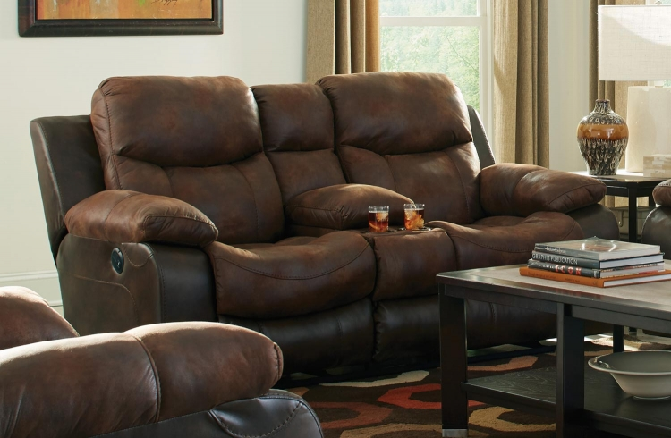 Henderson Power Reclining Console Loveseat With Storage and Cupholders - Sunset