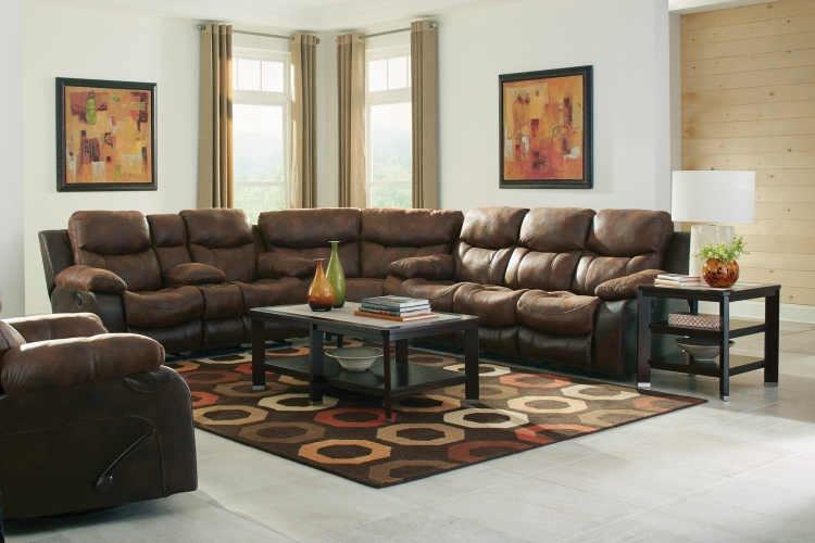 Henderson Reclining Sectional Sofa Set - Sunset