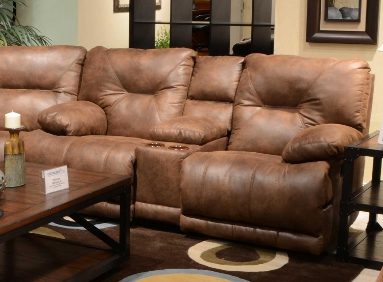 Voyager Power Lay Flat Reclining Console Loveseat with Storage and Cupholders - Elk