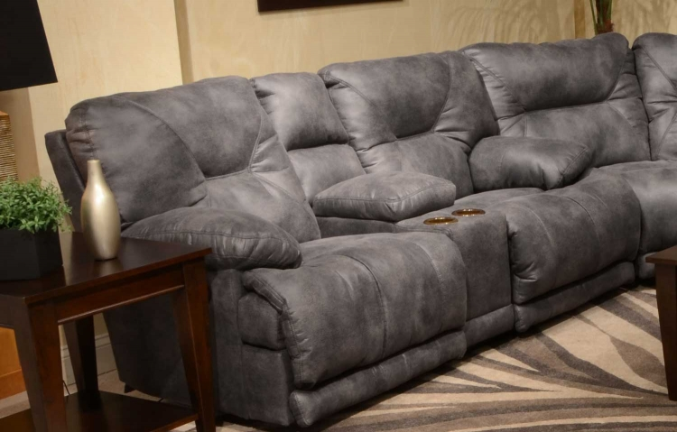 Voyager Lay Flat Reclining Console Loveseat with Storage and Cupholders - Slate