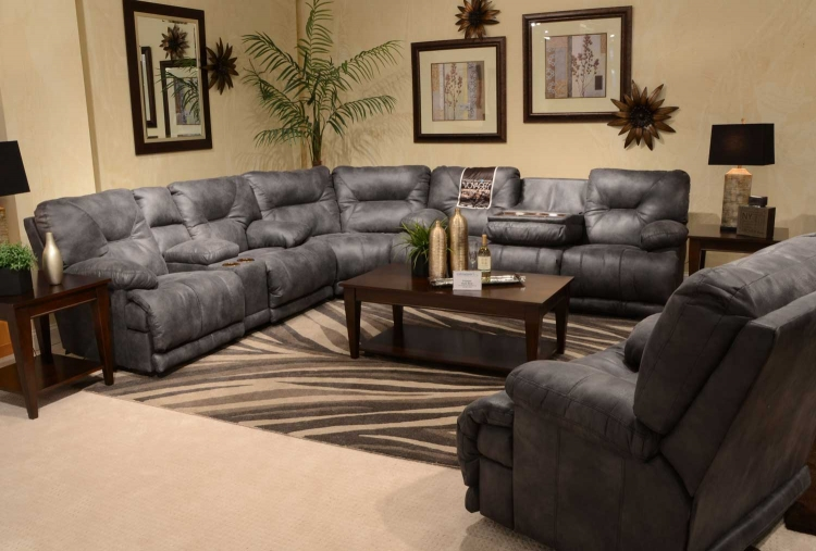 Voyager Sectional with Power Lay Flat 3 Recliner Sofa, Power Console Loveseat, and Wedge - Slate