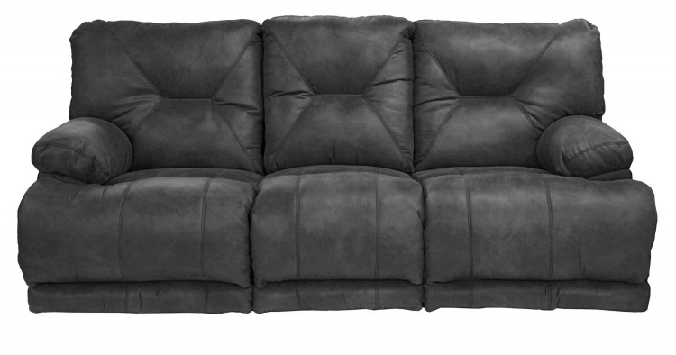 Voyager Lay Flat Sofa with 3 Recliners and Drop Down Table - Slate