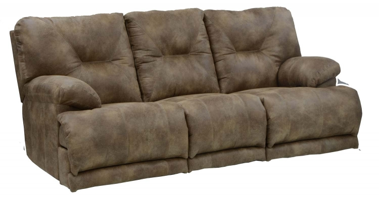 Voyager Lay Flat Sofa with 3 Recliners and Drop Down Table - Brandy
