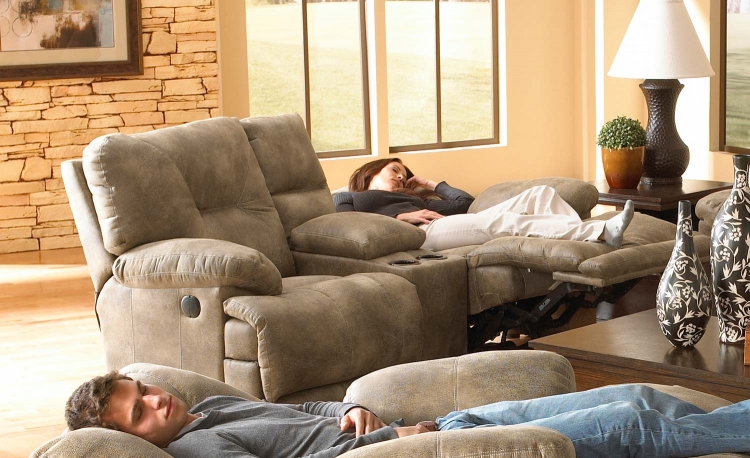 Voyager Lay Flat Reclining Console Loveseat with Storage and Cupholders - Brandy