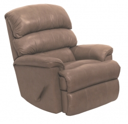 Bentley Top Grain Leather-Touch Chaise Rocker Recliner - Mushroom