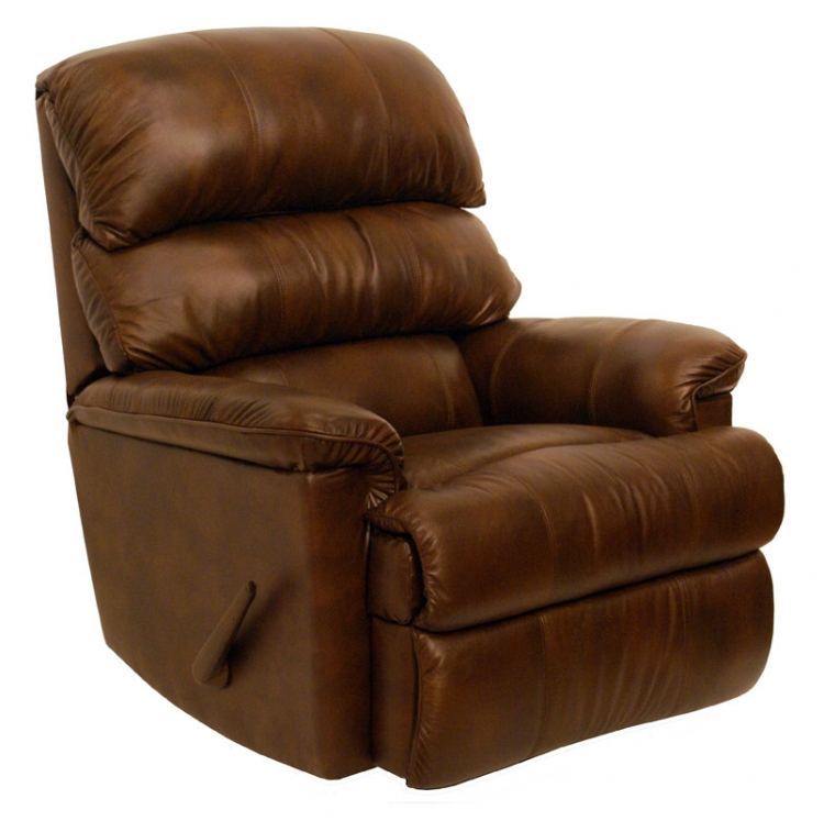 Bentley Top Grain Leather-Touch Chaise Rocker Recliner - Tobacco